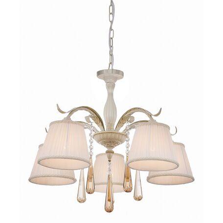 Потолочно-подвесная люстра Favourite Triste 1409-5PC, 5xE14x40W, бежевый с золотой патиной, белый, коньячный, прозрачный, металл, текстиль, хрусталь