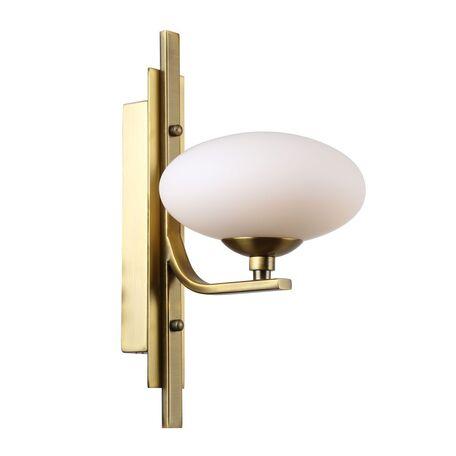 Бра Favourite Pernetti 2513-1W, 1xG9x40W, матовое золото, белый, металл, стекло