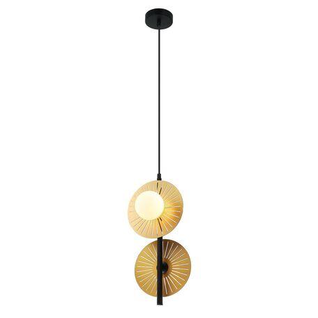 Подвесной светильник Favourite Sonnenblume 2356-2P, 2xG9x25W, черный, матовое золото, белый, металл, металл со стеклом