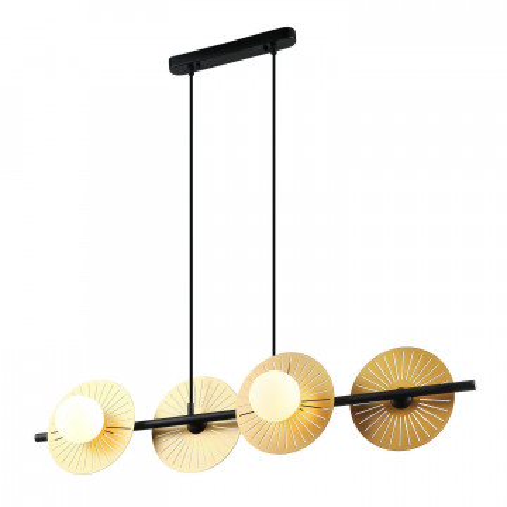 Подвесной светильник Favourite Sonnenblume 2356-4P, 4xG9x25W, черный, матовое золото, белый, металл, металл со стеклом