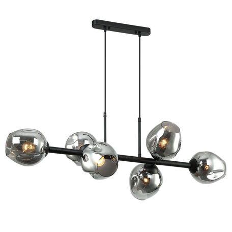Подвесной светильник Favourite Traube 2361-6P, 6xE27x40W, черный, дымчатый, металл, стекло