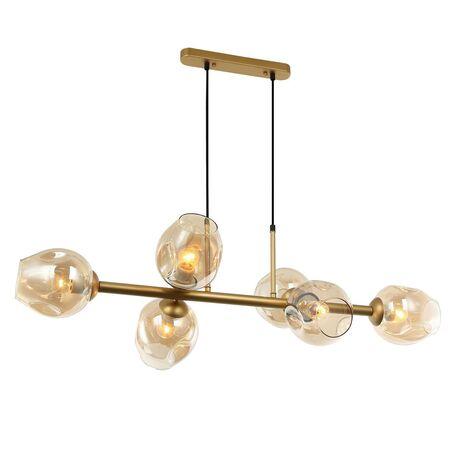 Подвесной светильник Favourite Traube 2362-6P, 6xE27x40W, матовое золото, янтарь, металл, стекло