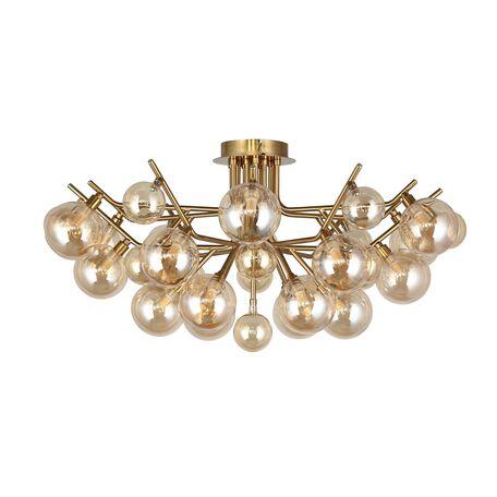 Потолочная люстра Favourite Lash 2525-18U, 18xG9x40W, бронза, янтарь, металл, стекло