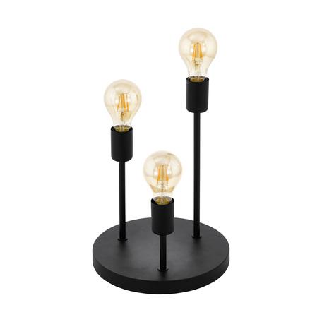Настольная лампа Eglo Trend & Vintage Industrial Wilmcote 43065, 3xE27x60W, черный, металл