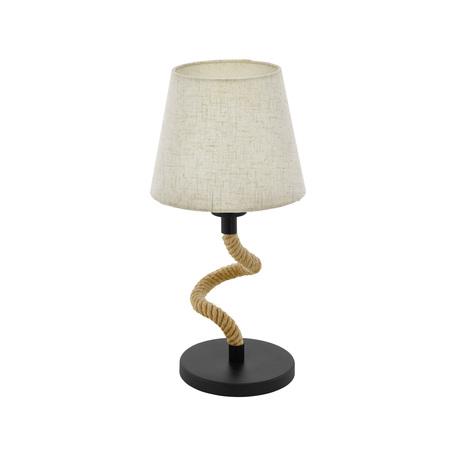 Настольная лампа Eglo Trend & Vintage Vintage Rampside 43199, 1xE27x28W, черный, коричневый, бежевый, металл, канат, текстиль