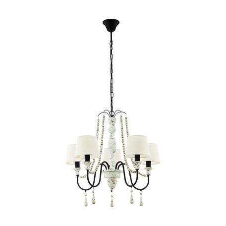 Подвесная люстра Eglo Chaltisham 1 43235, 5xE14x40W, белый, черно-белый, бежевый, металл, дерево, текстиль