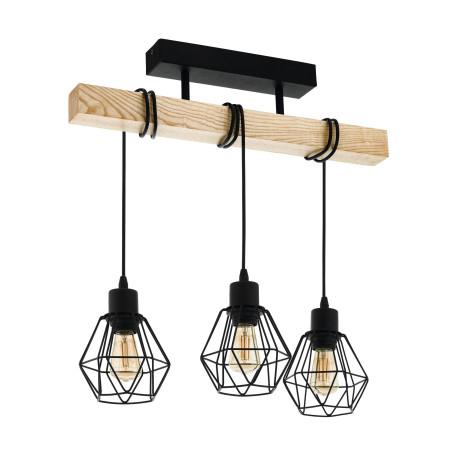 Подвесной светильник Eglo Trend & Vintage Industrial Townshend 5 43131, 3xE27x60W, коричневый, черный, металл, дерево