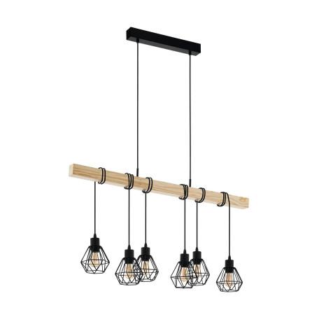 Подвесной светильник Eglo Trend & Vintage Industrial Townshend 5 43133, 6xE27x60W, коричневый, черный, металл, дерево