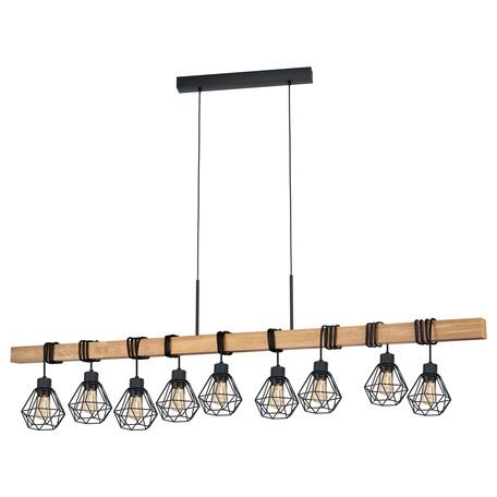 Подвесной светильник Eglo Townshend 5 43134, 9xE27x60W, коричневый, черный, металл, дерево
