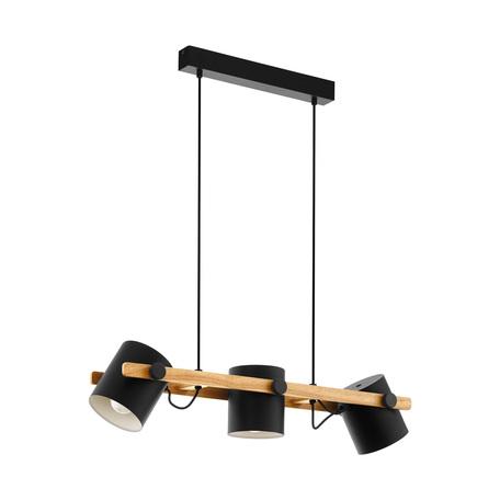 Подвесной светильник с регулировкой направления света Eglo Hornwood 43045, 3xE27x60W, черный, металл, дерево