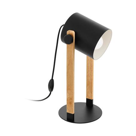 Настольная лампа Eglo Trend & Vintage Loft Hornwood 43047, 1xE27x28W, черный, коричневый, металл, дерево