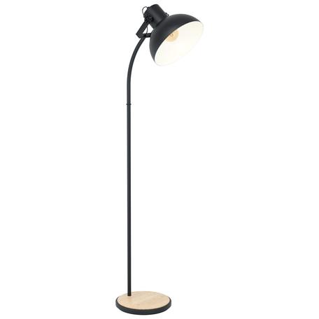 Торшер Eglo Trend & Vintage Industrial Lubenham 43166, 1xE27x28W, черный, металл, дерево