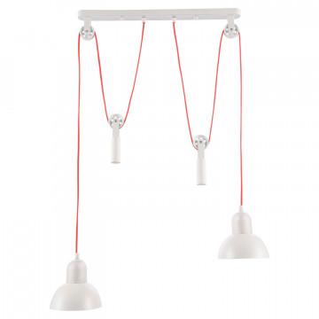 Подвесной светильник Lussole Loft Tanaina LSP-8129, IP21, 2xE27x40W, белый, красный, металл, стекло