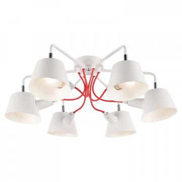 Потолочная люстра Lussole LGO Pinal LSP-8132, IP21, 6xE14x40W, белый, красный, металл