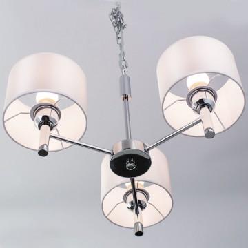 Подвесная люстра Citilux Аврора CL463130, 3xE27x75W, хром, белый, металл, текстиль - миниатюра 14
