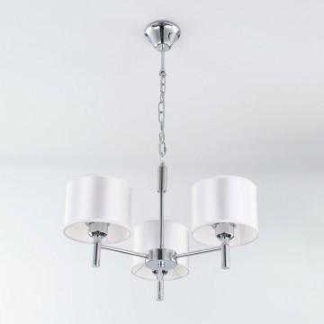 Подвесная люстра Citilux Аврора CL463130, 3xE27x75W, хром, белый, металл, текстиль - миниатюра 6
