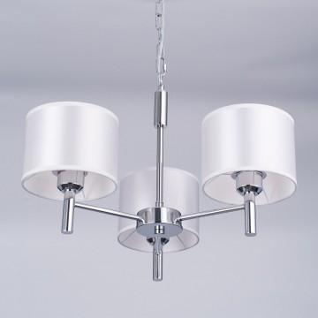 Подвесная люстра Citilux Аврора CL463130, 3xE27x75W, хром, белый, металл, текстиль - миниатюра 8