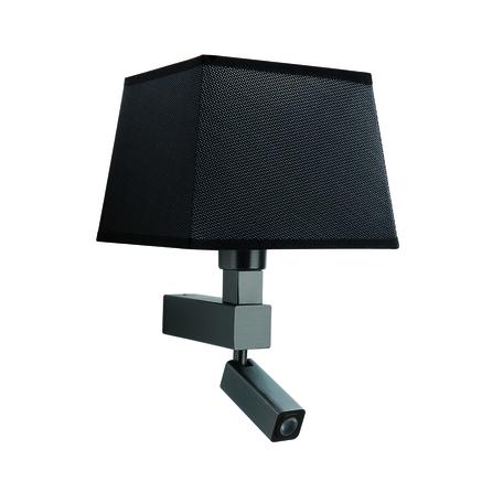 Бра с регулировкой направления света с дополнительной подсветкой Mantra Bahia 5233+5240, коричневый, черный, металл, текстиль