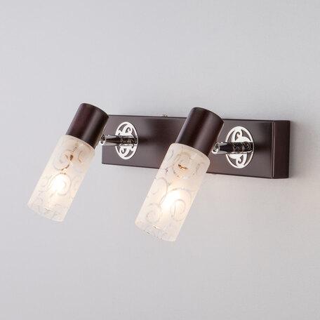 Настенный светильник Eurosvet Astoria 21130/2 хром/венге, 2xE14x40W, венге, белый, металл, стекло