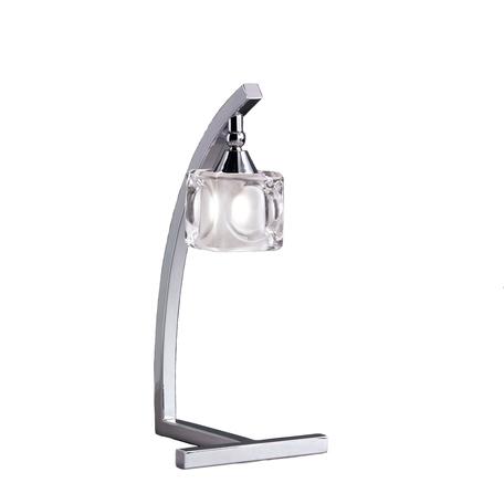 Настольная лампа Mantra Cuadrax 0954, хром, прозрачный, металл, стекло