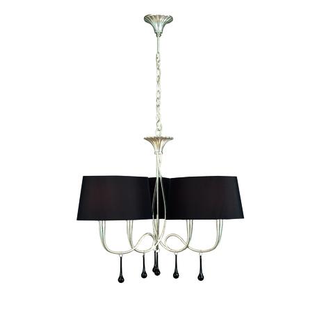Подвесная люстра Mantra Paola 3530, серебро, черный, металл, текстиль, стекло