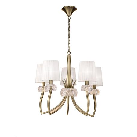 Подвесная люстра Mantra Loewe 4731, бронза, прозрачный, белый, металл, стекло, текстиль