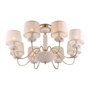 Потолочная люстра Crystal Lux ADAGIO PL8 1020/108, 8xE14x60W, белый, золото, керамика, текстиль