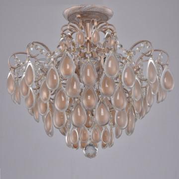 Потолочная люстра Crystal Lux SEVILIA PL4 GOLD 2940/104, 4xE14x60W, белый с золотой патиной, перламутровый, прозрачный, металл, стекло, хрусталь