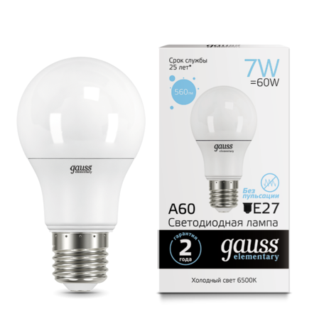 Светодиодная лампа Gauss Elementary 23237A, белый
