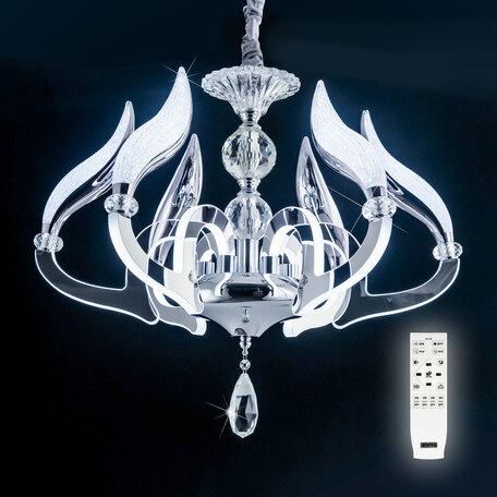 Подвесная светодиодная люстра с пультом ДУ Citilux Diva EL339P06, LED 80W 2700-4500K 7200lm, хром, прозрачный, металл, металл с пластиком, стекло