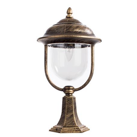Садово-парковый светильник Arte Lamp Barcelona A1484FN-1BN, IP44, 1xE27x75W, черный с золотой патиной, прозрачный, черненое золото, металл, пластик