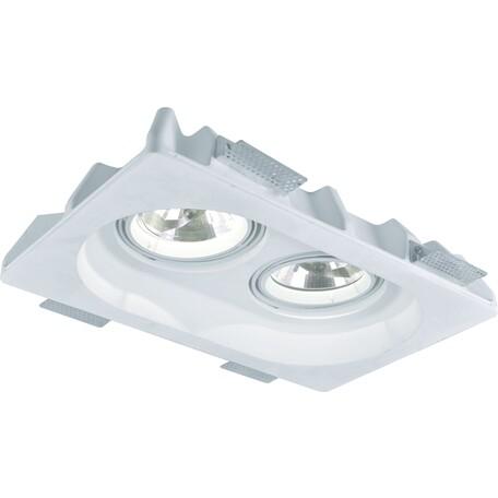 Встраиваемый светильник Arte Lamp Invisible A9270PL-2WH, 2xG53AR111x50W, белый, под покраску, гипс