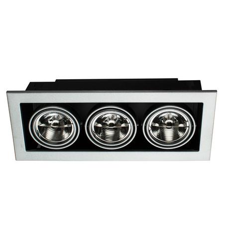 Встраиваемый светильник Arte Lamp Instyle Cardani Medio A5930PL-3SI, 3xG53AR111x50W, черный, серебро, металл