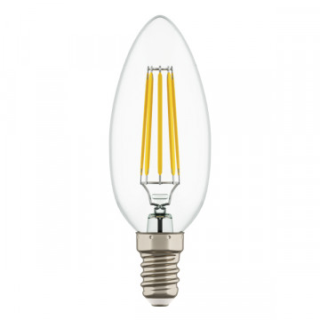 Филаментная светодиодная лампа Lightstar LED 933504 свеча E14 6W, 4000K (дневной) 220V, гарантия 1 год