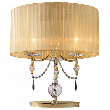 Настольная лампа Lightstar Paralume 725923, 2xE14x40W, золото, прозрачный, металл, хрусталь, текстиль