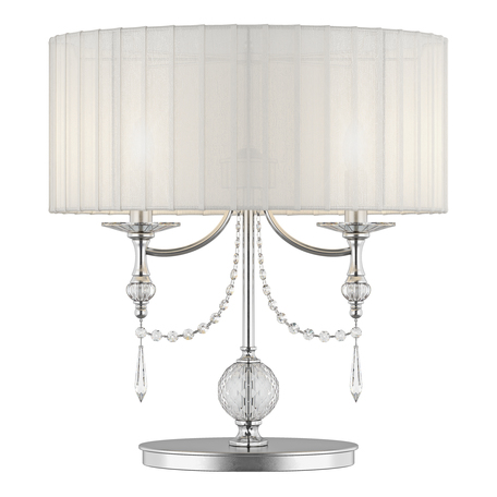 Настольная лампа Lightstar Paralume 725926, 2xE14x40W, прозрачный, хром, белый, металл, хрусталь, текстиль - миниатюра 1
