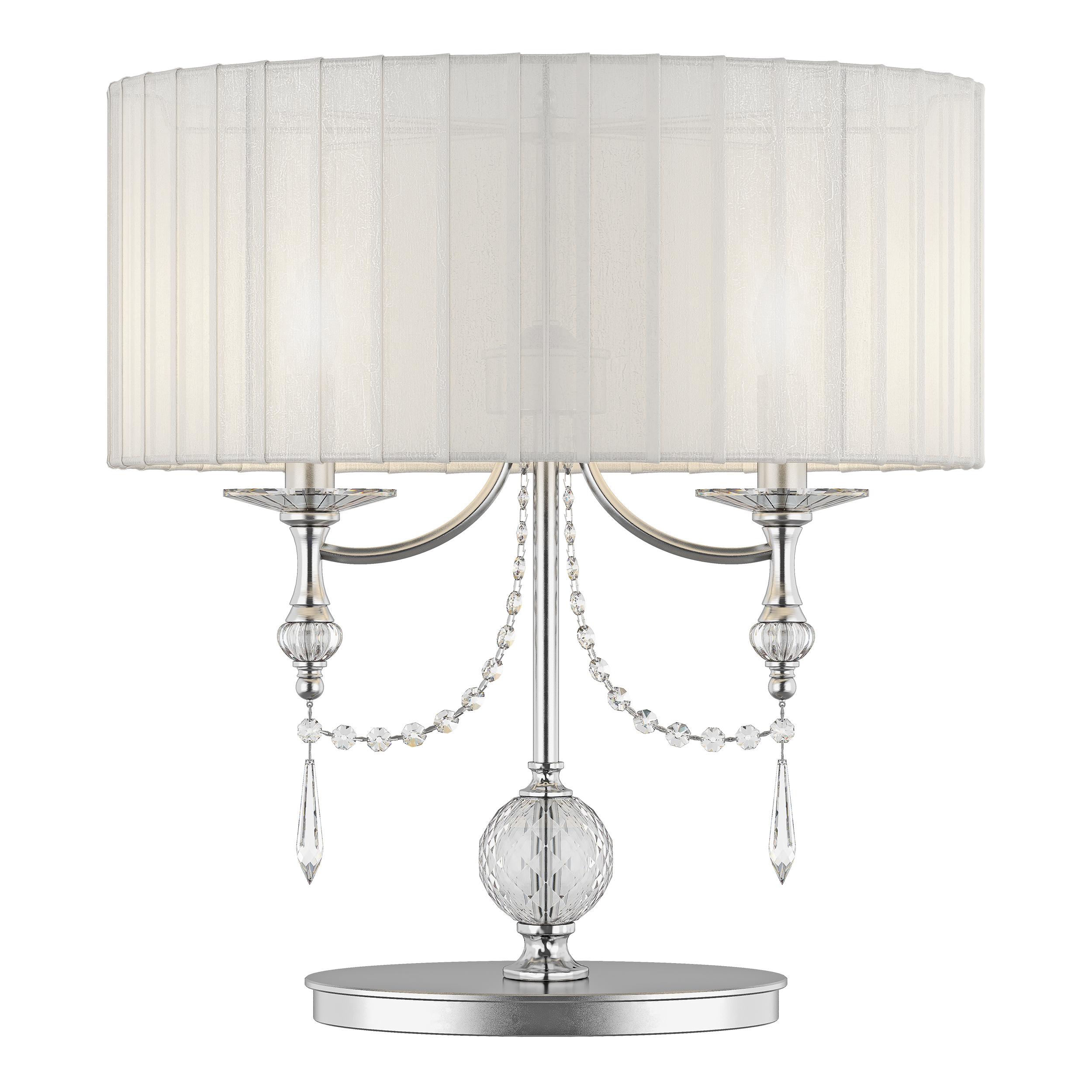 Настольная лампа Lightstar Paralume 725926, 2xE14x40W, прозрачный, хром, белый, металл, хрусталь, текстиль - фото 1