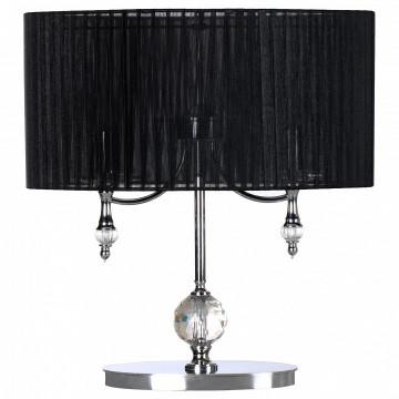 Настольная лампа Lightstar Paralume 725927, 2xE14x40W, прозрачный, хром, черный, металл, хрусталь, текстиль