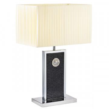 Настольная лампа Lightstar Faraone 870937, 1xE27x60W, черный, белый, кожа/кожзам, текстиль