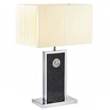 Настольная лампа Lightstar Faraone 870937, 1xE27x60W, черный, белый, кожзам, текстиль