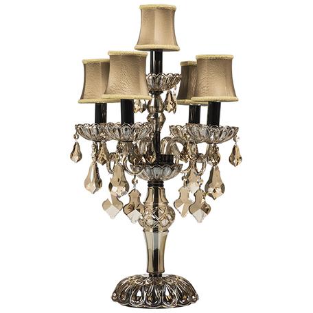 Настольная лампа Lightstar Osgona Nativo 715957, 5xE14x40W, черный хром, коньячный, бежевый, стекло, текстиль, хрусталь