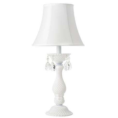 Настольная лампа Lightstar Osgona Princia 726911, 1xE27x40W, белый, прозрачный, стекло, текстиль, хрусталь