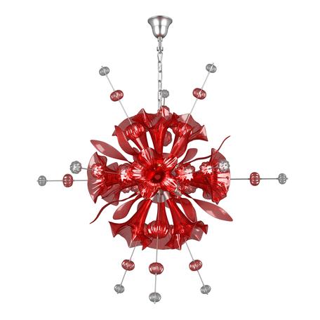 Подвесная люстра Lightstar Celesta 893122, 12xG9x25W, хром, красный, металл, стекло