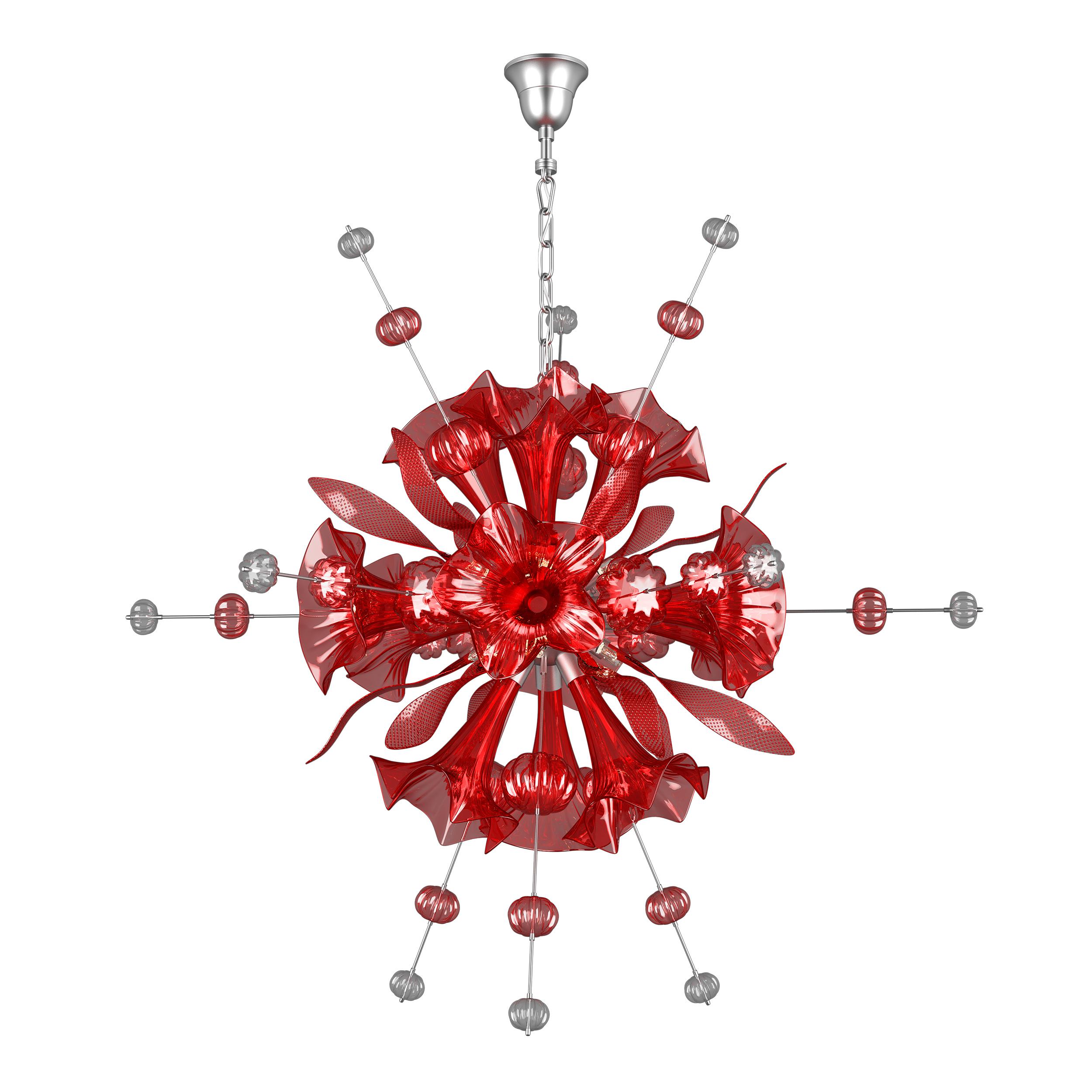 Подвесная люстра Lightstar Celesta 893122, 12xG9x25W, хром, красный, металл, стекло - фото 1