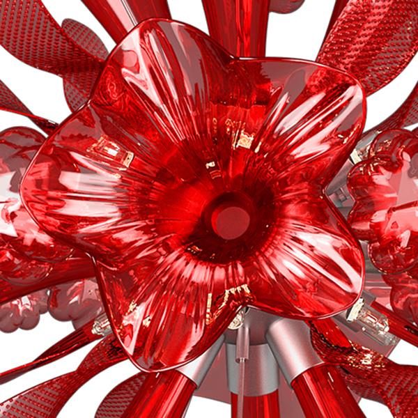 Подвесная люстра Lightstar Celesta 893122, 12xG9x25W, хром, красный, металл, стекло - фото 4