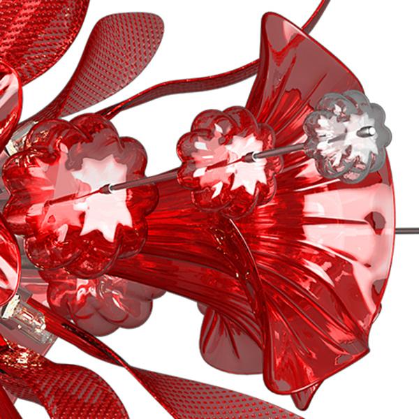 Подвесная люстра Lightstar Celesta 893122, 12xG9x25W, хром, красный, металл, стекло - фото 5