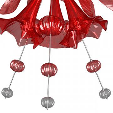 Подвесная люстра Lightstar Celesta 893122, 12xG9x25W, хром, красный, металл, стекло - миниатюра 6