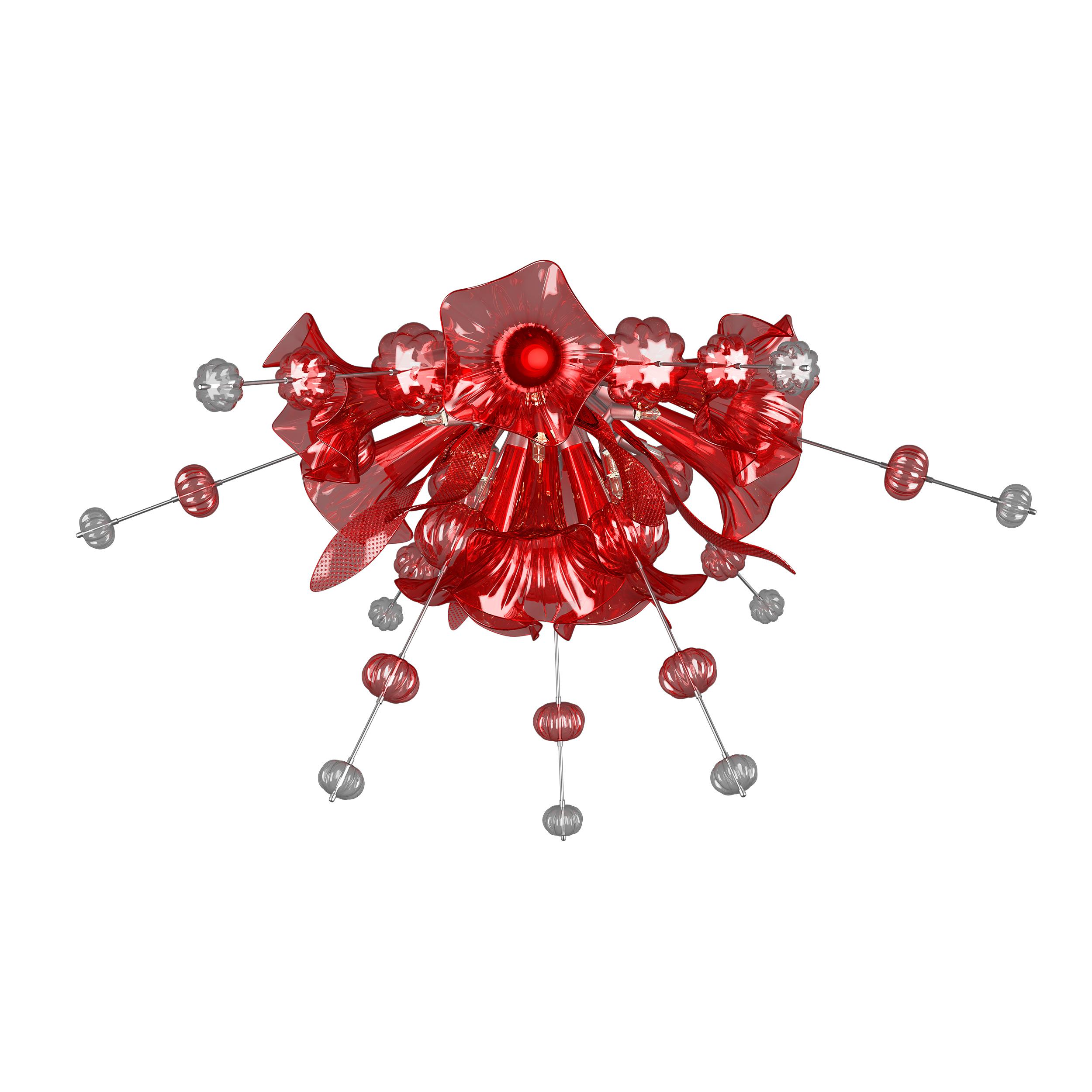 Потолочная люстра Lightstar Celesta 893022, 12xG9x25W, хром, красный, металл, стекло - фото 1