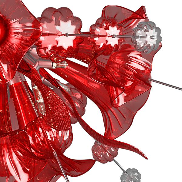 Потолочная люстра Lightstar Celesta 893022, 12xG9x25W, хром, красный, металл, стекло - фото 5