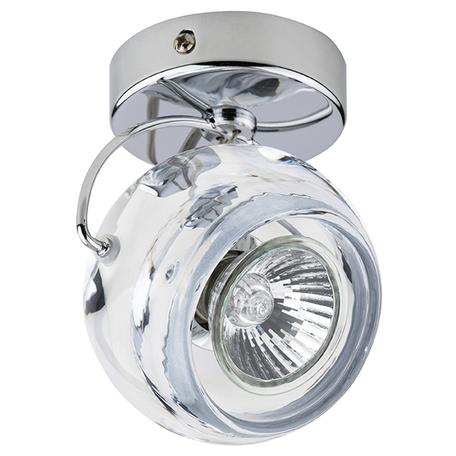 Потолочный светильник с регулировкой направления света Lightstar Fabi 110504, 1xGU10x50W, хром, прозрачный, металл, стекло